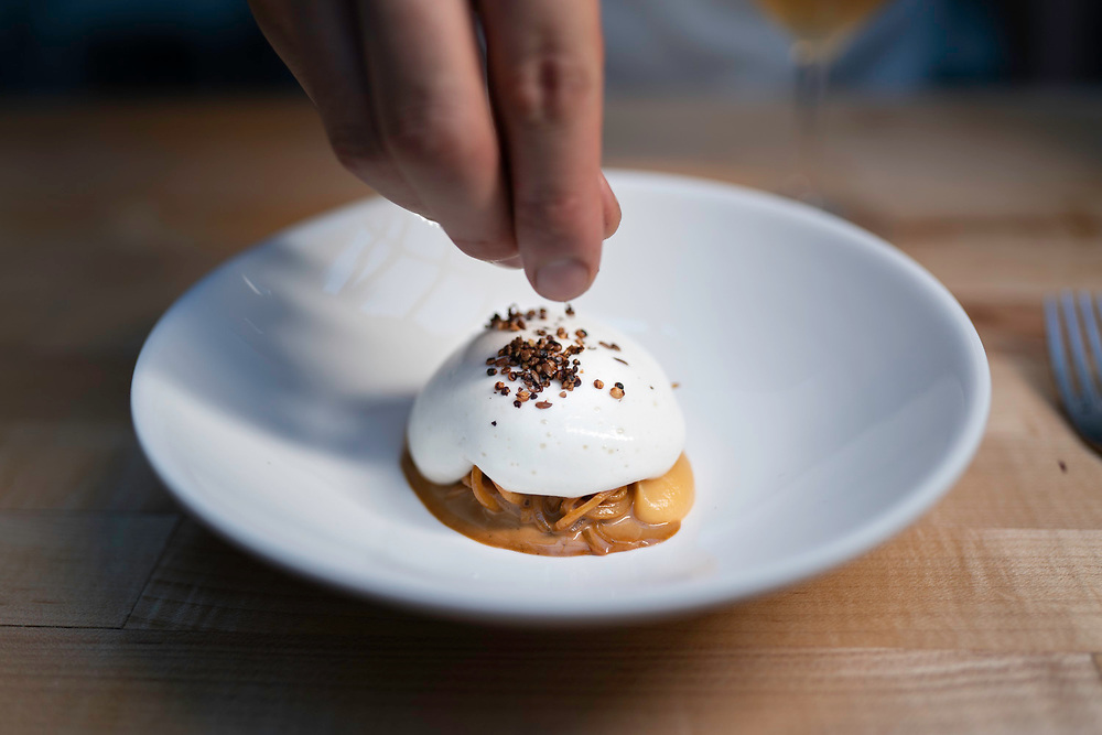 """BROOKLYN, NY - FEBRUARY 16, 2019: """"Rutabaga, fontina val d'aosta, and coffee,"""" served at Oxalis in Brooklyn. CREDIT: Emon Hassan for The New York Times"""