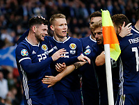 Football - 2018 / 2019 UEFA European Championship Qualifier - Group I: Scotland vs. Cyprus<br /> <br /> Oliver Burke of Scotland celebrates scoring to make it 2-1 during the European Championship Qualifying match between Scotland and Cyprus, at Hampden Park, Glasgow.<br /> <br /> COLORSPORT/BRUCE WHITE