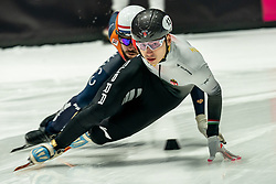 Shaoang Liu of Hungary in action on 1000 meter during ISU World Short Track speed skating Championships on March 05, 2021 in Dordrecht