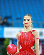 Vladinova Neviana during qualifying at ball in Pesaro World Cup April 10, 2015. Neviana is a gymnast from Bulgaria. She is born in Pleven February 23, 1994.