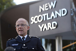 """Metropolitan Police Assistant Commissioner Mark Rowley speaks to the media outside New Scotland Yard, London, after a terrorist incident was declared following a blast which sent a """"fireball"""" and a """"wall of flame"""" through a packed London Underground train."""