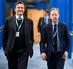 © Licensed to London News Pictures. 01/10/2018. Birmingham, UK. Editor-in-chief of Bloomberg News JOHN MICKLETHWAIT (left) Editor of the Daily Mail newspaper GEORDIE GREIG (right) attends day two of the 2018 Conservative Party autumn conference at the ICC in Birmingham. This years event is focused heavily on Brexit and negotiations with the EU over the UK's exit form the European Union. Photo credit: Ben Cawthra/LNP