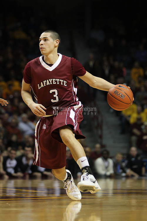 Dec 22, 2012; Minneapolis, MN, USA; Lafayette Leopards guard Tony Johnson (3) passes during the first half against the Minnesota Golden Gophers at Williams Arena. Mandatory Credit: Brace Hemmelgarn-USA TODAY Sports