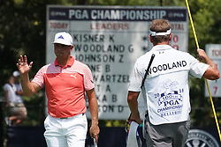 August 10, 2018 - St. Louis, Missouri, United States - Gary Woodland (L) and his caddie Brennan Little on the 9th green during the second round of the 100th PGA Championship at Bellerive Country Club. (Credit Image: © Debby Wong via ZUMA Wire)