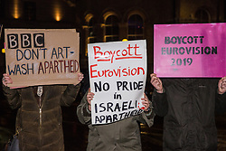 London, UK. 8th February, 2019. Pro-Palestinian activists attend a 'Love Eurovision, Hate Apartheid!' protest outside BBC Broadcasting House organised by London Palestine Action to call on the BBC to withdraw from the 2019 Eurovision Song Contest hosted by Israel so as to avoid complicity in 'artwashing' Israel's violations of Palestinian human rights. The protest formed part of a global campaign to Boycott Eurovision in Israel.