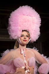 © Licensed to London News Pictures. 14/09/2018. LONDON, UK.  Ellie Rae Winstone, daughter of actor Ray Winstone, presents a look by Pam Hogg during Fashion Scout SS19, an off schedule show at Freemasons Hall in Covent Garden, on the opening day of London Fashion Week.  Photo credit: Stephen Chung/LNP