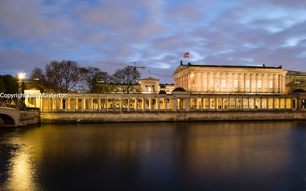 Night view of Alte Nationalgealerie on Museumsinsel (Museum Island) across Spree river Mitte Berlin Germany
