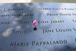 June 23, 2017 - New York, New York, U.S. - A view of the names of victims with a flower on the South Pool at the National September 11 Memorial & Museum. Plans were announced to add a tribute to the Ground Zero Recovery and Rescue Workers. The tribute at the National September 11 Memorial and Museum is expected to be a ''commemorative space and walkway'' in the Memorial Glade, a grassy clearing in the southwest corner of the 8-acre (3.24-hectare) site that once held the Twin Towers. (Credit Image: © Nancy Kaszerman via ZUMA Wire)
