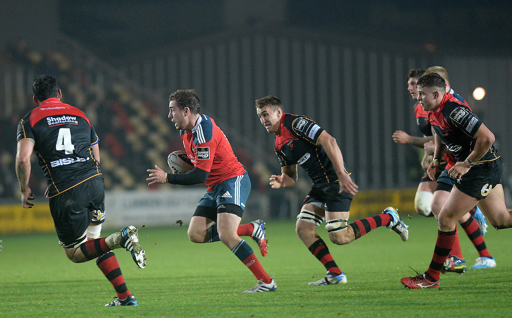 Munster's JJ Hanrahan in action during today's match <br /> <br /> Photographer Ashley Crowden/CameraSport<br /> <br /> Rugby Union - Guinness PRO12 - Newport Gwent Dragons v Munster - Friday 21st November 2014 - Rodney Parade - Newport<br /> <br /> © CameraSport - 43 Linden Ave. Countesthorpe. Leicester. England. LE8 5PG - Tel: +44 (0) 116 277 4147 - admin@camerasport.com - www.camerasport.com