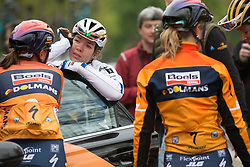Anna van der Breggen (NED) talks to Chantal Blaak (NED) (both Boels-Dolmans Cycling Team) after the Tour de Yorkshire - a 122.5 km road race, between Tadcaster and Harrogate on April 29, 2017, in Yorkshire, United Kingdom.