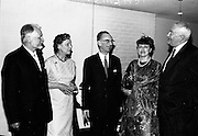 20/5/1965<br /> 5/20/1965<br /> 20 May 1965<br /> <br /> Dr. G. Bouvier of Switzerland President of I.H.A.T.I.S.; Mrs Norman Judd; Mr. J.C. Nagle Secretary Dept. of Agriculture; Madame G. Bouvier and Mr. Norman Judd Chairman of the Irish Hide Improvement Society chatting at the dinner given by the society for the conference delegates at Jury's Hotel