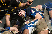 2004/05 Zurich Premiership, London Wasps vs Bath. Causeway Stadium, High Wycombe, ENGLAND:<br />Bath lock Steve Borthwick looks out from the ruck, tracking the path of the ball.<br /><br />Photo  Peter Spurrier. <br />email images@intersport-images
