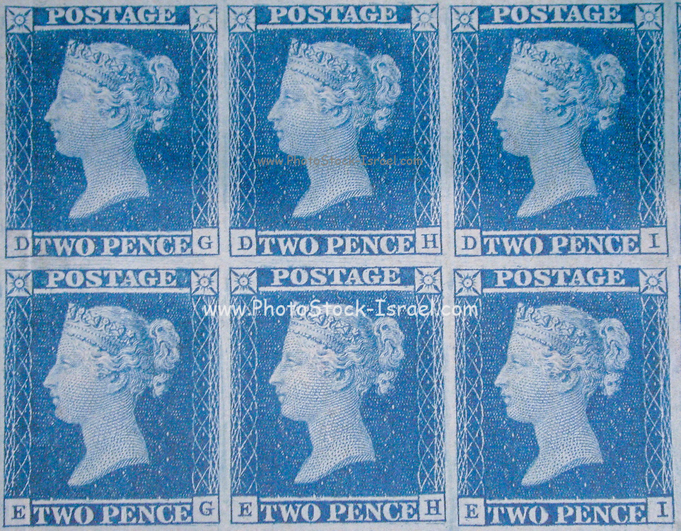 """Unused block of Six """"Two Penny Blue"""" postage stamps of Queen Victoria<br /> issued March 13, 1841 After a design by William Wyon"""