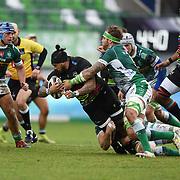 Treviso 02/01/2021 Stadio Monigo<br /> Guinness PRO14 <br /> Benetton Treviso vs Zebre <br /> <br /> Jimmy Tuivaiti placcato da Niccolo Cannone