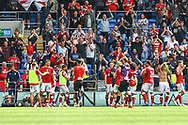 CELE Bristol City team applaud their fans at the final whistle during the EFL Sky Bet Championship match between Cardiff City and Bristol City at the Cardiff City Stadium, Cardiff, Wales on 28 August 2021.