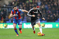 Mile Jedinak, the Captain Palace captain and Diego Costa of Chelsea compete for the ball. Barclays Premier League match, Crystal Palace v Chelsea at Selhurst Park in London on Sunday 3rd Jan 2016. pic by John Patrick Fletcher, Andrew Orchard sports photography.