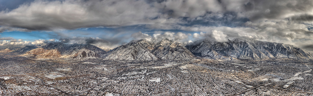 Looking East over Salt Lake Valley towards Big and Little Cottonwood Canyons