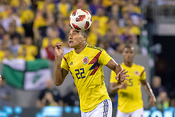 September 11, 2018 - East Rutherford, NJ, U.S. - EAST RUTHERFORD, NJ - SEPTEMBER 11: Colombia defender Jeison Murillo (22) heads the ball during the first half of the International Friendly Soccer match between Argentina and Colombia on September 11, 2018 at MetLife Stadium in East Rutherford, NJ. (Photo by John Jones/Icon Sportswire) (Credit Image: © John Jones/Icon SMI via ZUMA Press)