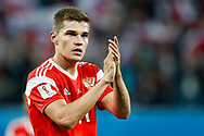 Russia Roman Zobnin celebrates the victory after the 2018 FIFA World Cup Russia, Group A football match between Russia and Egypt on June 19, 2018 at Saint Petersburg Stadium in Saint Petersburg, Russia - Photo Stanley Gontha / Pro Shots / ProSportsImages / DPPI