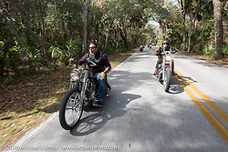 Riding through Tomoka State Park during Daytona Bike Week 75th Anniversary event. FL, USA. Thursday March 3, 2016.  Photography ©2016 Michael Lichter.