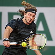 PARIS, FRANCE October 07.  Stefanos Tsitsipas of Greece in action against Andrey Rublev of Russia in the Quarter Finals of the singles competition on Court Philippe-Chatrier during the French Open Tennis Tournament at Roland Garros on October 7th 2020 in Paris, France. (Photo by Tim Clayton/Corbis via Getty Images)