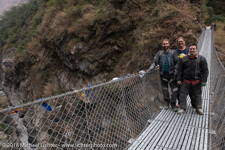 Sean Lichter, Beanre (Kevin Doebler) and Chris Shelby on day-6  of our Himalayan Heroes adventure riding from Muktinath to Tatopani, Nepal. Sunday, November 11, 2018. Photography ©2018 Michael Lichter.