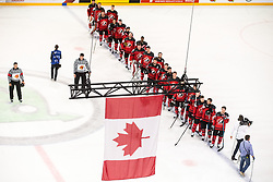 Players of Canada listening to the national anthem after winning during the 2017 IIHF Men's World Championship group B Ice hockey match between National Teams of Canada and Finland, on May 16, 2017 in AccorHotels Arena in Paris, France. Photo by Vid Ponikvar / Sportida