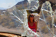 Visitor at Techatticup ghost town and gold mine, Las Vegas, Nevada. (model released)