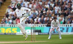 Pakistan batsman Azhar Ali scores his 100th run during day two of the 3rd Investec Test Match at Edgbaston, Birmingham.