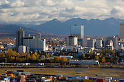 Anchorage the largest city in Alaska on the shores of Cook Inlet overlooking the Alaska and Chugach mountain ranges has a population of 275,000 people, 000 people000 people
