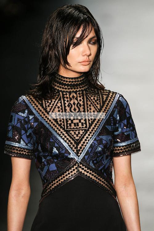 Jessica Barta Lam (Request) walks the runway wearing Tadashi Shoji Fall 2016 during New York Fashion Week on February 12, 2016