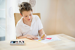 Boy sitting at table painting a picture