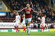 Andre Gray of Burnley celebrates after scoring his teams 1st goal from the penalty spot. Skybet football league Championship match, Burnley v Huddersfield Town at Turf Moor in Burnley ,Lancs on Saturday 31st October 2015.<br /> pic by Chris Stading, Andrew Orchard sports photography.