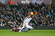 Robert Huth of Leicester city brings down Libor Kozak of Aston Villa in the penalty area but no penalty is awarded. Barclays Premier league match, Aston Villa v Leicester city at Villa Park in Birmingham, The Midlands on Saturday 16th January 2016.<br /> pic by Andrew Orchard, Andrew Orchard sports photography.