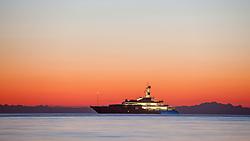 THEMENBILD - URLAUB IN KROATIEN, die Talisman C Yacht bei Sonnenuntergang, aufgenommen am 03.07.2014 in Porec, Kroatien // Talisman C Yacht at sunset at Porec, Croatia on 2014/07/03. EXPA Pictures © 2014, PhotoCredit: EXPA/ JFK