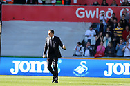 Swansea city manager Paul Clement celebrates towards the Swansea fans at the end of the game after his team win 2-0.  Premier league match, Swansea city v Stoke City at the Liberty Stadium in Swansea, South Wales on Saturday 22nd April 2017.<br /> pic by Andrew Orchard, Andrew Orchard sports photography.