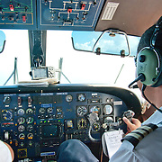 Inside the cockpit of a small commercial plane serving the islands of Samoa and American Samoa.