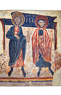 Romanesque frescoes of the Apostle Paul from the church of Sant Roma de les Bons, painted around 1164, Encamp, Andorra. National Art Museum of Catalonia, Barcelona. MNAC 15783 .<br /> <br /> If you prefer you can also buy from our ALAMY PHOTO LIBRARY  Collection visit : https://www.alamy.com/portfolio/paul-williams-funkystock/romanesque-art-antiquities.html<br /> Type -     MNAC     - into the LOWER SEARCH WITHIN GALLERY box. Refine search by adding background colour, place, subject etc<br /> <br /> Visit our ROMANESQUE ART PHOTO COLLECTION for more   photos  to download or buy as prints https://funkystock.photoshelter.com/gallery-collection/Medieval-Romanesque-Art-Antiquities-Historic-Sites-Pictures-Images-of/C0000uYGQT94tY_Y