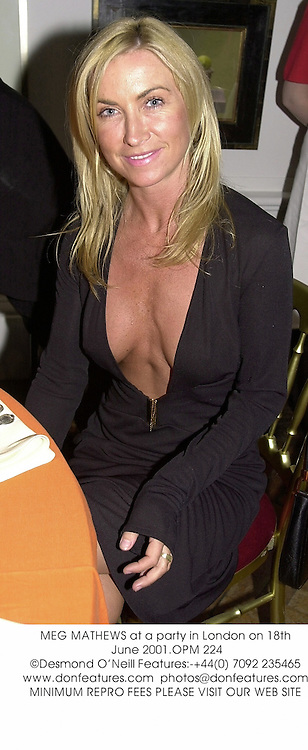 MEG MATHEWS at a party in London on 18th June 2001.OPM 224
