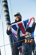 """The Vendee Globe 2016 - 2017<br /> British yachtsman Alex Thomson skipper of the 'Hugo Boss""""  IMOCA Open60. He finished 2nd in the Vendee Globe solo non stop around the world yacht race. Shown here in the Sables d Olonne port celebrating with his son Oscar. He completed the solo non stop around the world race in 74days. 19hours and 35 minutes<br /> <br /> Photo by Lloyd Images"""