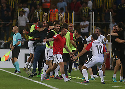 August 24, 2017 - Vardar players celebrate their goalduring Fenerbahce vs. Vardar UEFA Europe League Game at Ulker Stadium, Kadikoy, Istanbul, Turkey (Credit Image: © Depo Photos via ZUMA Wire)