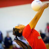 091913  Adron Gardner/Independent<br /> <br /> Crownpoint Eagle Kyla Yazzie (20) returns a Navajo Prep Eagle serve in Crownpoint Thursday.