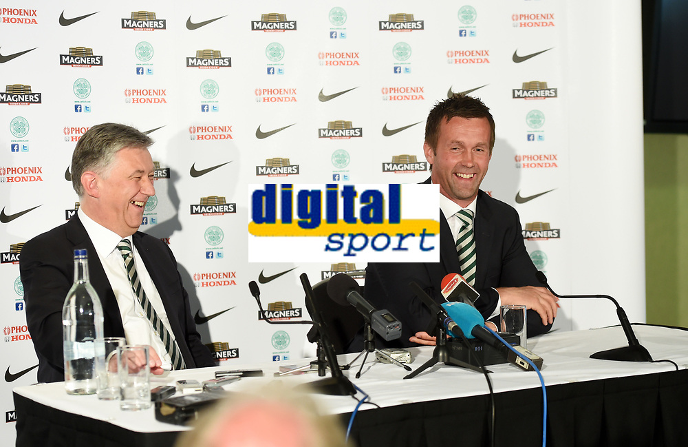 06/06/14<br /> CELTIC PARK - GLASGOW<br /> Celtic Chief Executive Peter Lawwell (left) and new manager Ronny Deila are in good spirits as they address the media