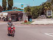 Madello del Lario, Lecco: an old Moto Guzzi with dog