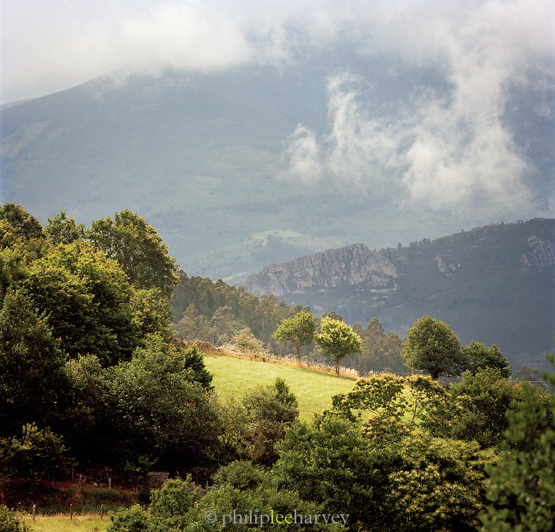 Mountainous landscape in the rural ountryside near Boal in the Asturias, Spain