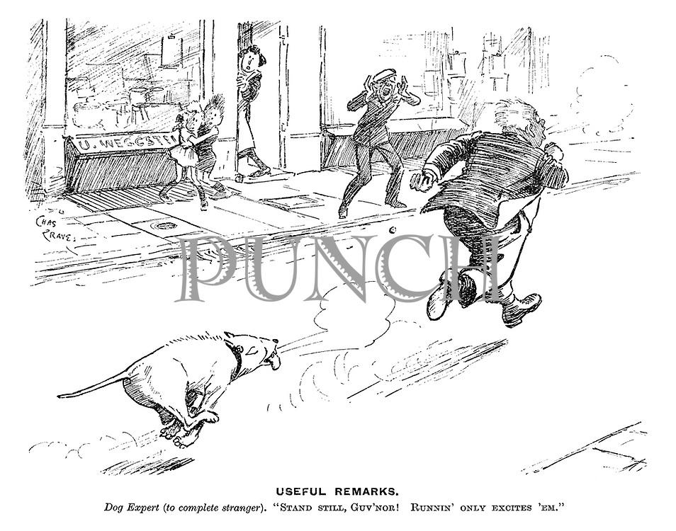 "Useful Remarks. Dog expert (to complete stranger). ""Stand still, guv'nor! Runnin' only excites 'em."""
