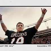 South Carolina's Steve Taneyhill celebrates the Gamecocks' first-ever SEC victory over No. 15 Mississippi State in 1992 in Columbia, S.C. ©Travis Bell Photography