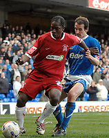 Photo: Ashley Pickering.<br />Ipswich Town v Southend United. Coca Cola Championship. 10/03/2007.<br />Frank Moussa of Southend (L) holds off David Wright of Ipswich