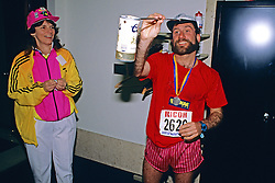 Sue Lane & Runner, Massage Therapy, Boston Marathon 1989