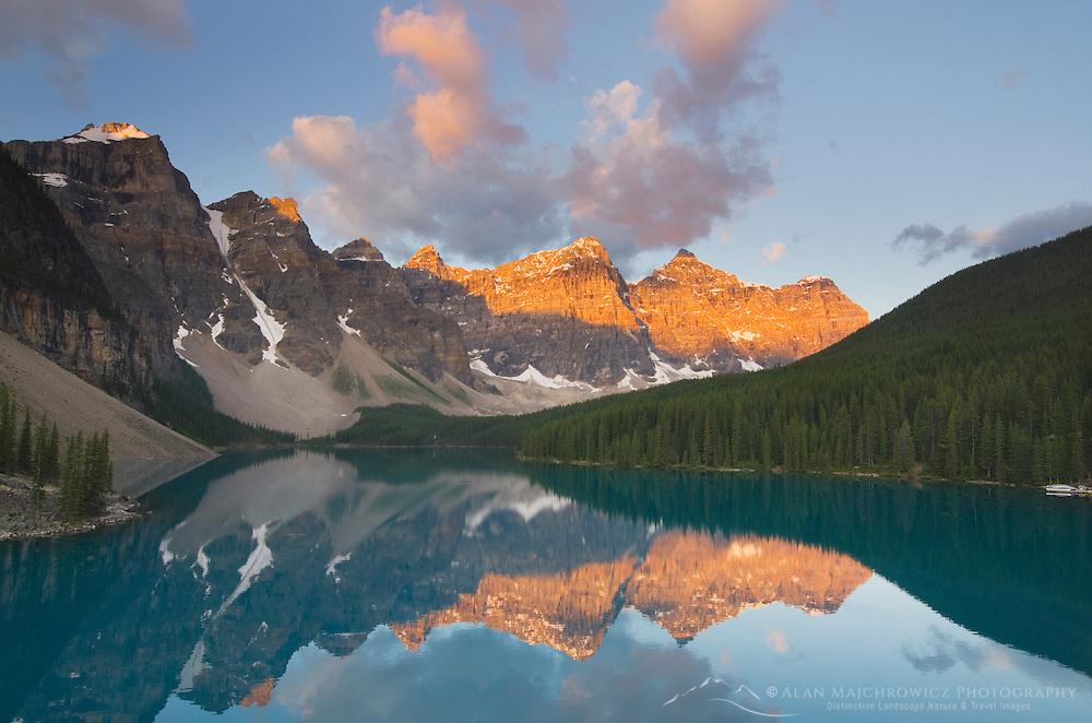 Sunrise over Moraine Lake and Wenkchemna Peaks, Banff National Park Alberta Canada